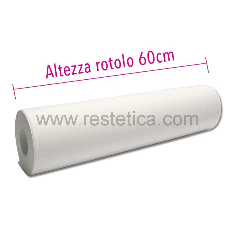 Lenzuolino medico in pura cellulosa altezza 60cm per 80m di lunghezza - 1 rotolo imbustato singolarmente