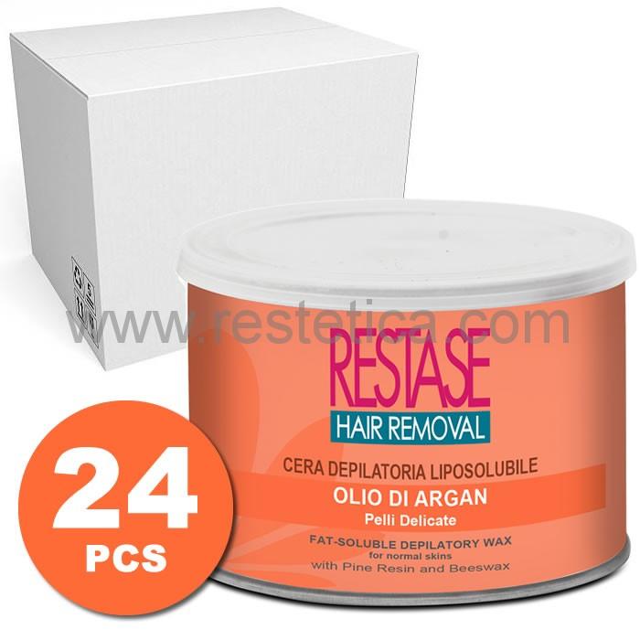 Cera per pelli delicate a base di Olio di Argan perfetta per ogni stagione in vaso da 400 ml - scatola da 24 vasi